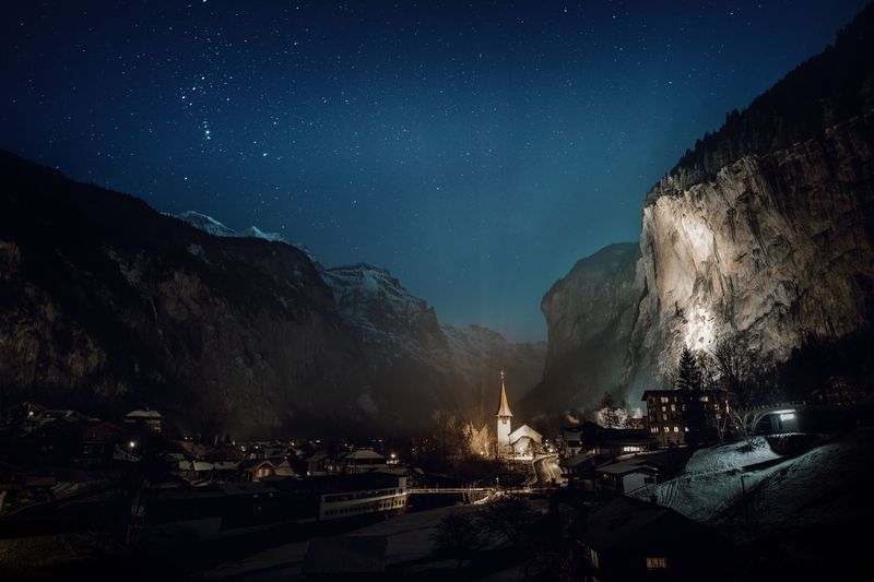 Clear Sky Astronomy Beauty In Nature Cliff Galaxy Illuminated Mountain Nature Night No People Outdoors Scenics Sky Space Star - Space Star Field Swiss Alps Tranquility Valley Village