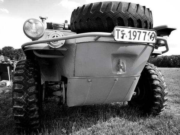 Outdoors No People Low Angle View My Point Of View Front View Car Volkswagenporn Volkswagen Land Vehicle Transportation Vehicle Cardetails Oldtimer Oldtimer♥ Carporn Oldcars Amphibious Vehicle Taking Photos VW Vw Schwimmwagen Black & White Black & White Photography Lights And Shadows Monochrome Photograhy Mode Of Transport WWII First Eyeem Photo