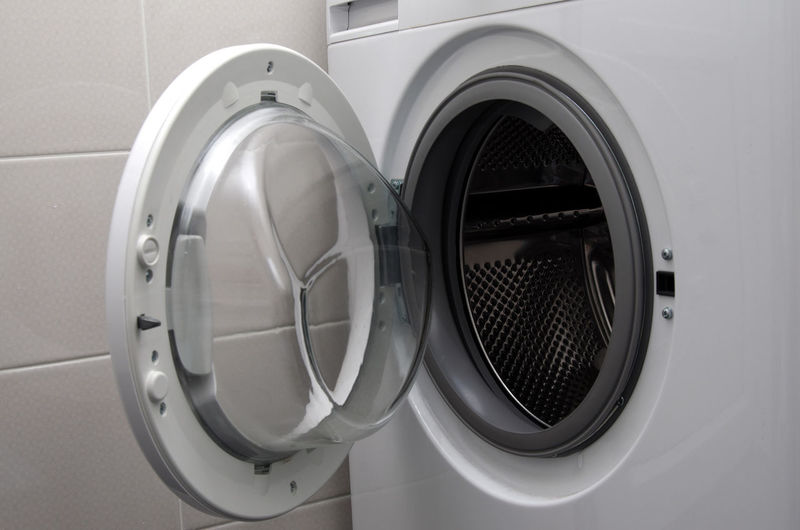 Close-up of washing machine at home