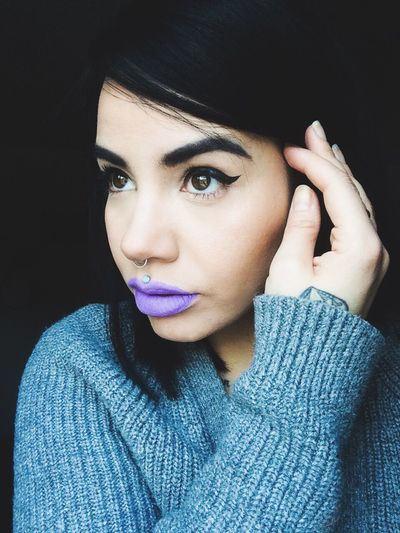 Woman Portrait Body Modification Piercings Philtrum Medusa Septum Purple Lips Lavender Lips Lilac Lips Nyxcosmetics Sway Pastel Cat Eyeliner Black Hair Young Woman Not Looking At Camera Hand Tattoo Grey Sweater Woman's Hand The Portraitist - 2016 EyeEm Awards Self Portraits Selfies Portrait Of A Girl Grey Sweater I need models.