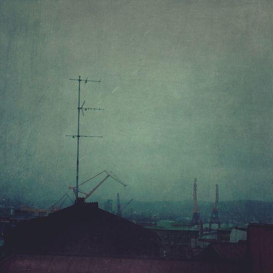 Foggy Morning Rooftop Urban Landscape