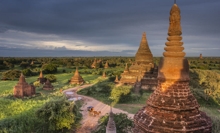 Bagan Myanmar with dramatic sunset colors Myanmar Bagan Ancient Civilization Outdoors Travel Destinations Place Of Worship Architecture Sky Religion Spirituality History Belief Monastery Temple Built Structure Cloud - Sky No People Nature The Past Building Sunset Inspiration