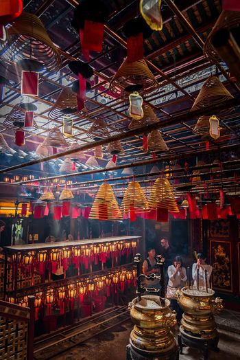 Say a little prayer 🙏🏼 at Man Mo Temple. Praying Incense Man Mo Temple Hong Kong Temple Lantern Built Structure Architecture Adventures In The City The Traveler - 2018 EyeEm Awards Capture Tomorrow