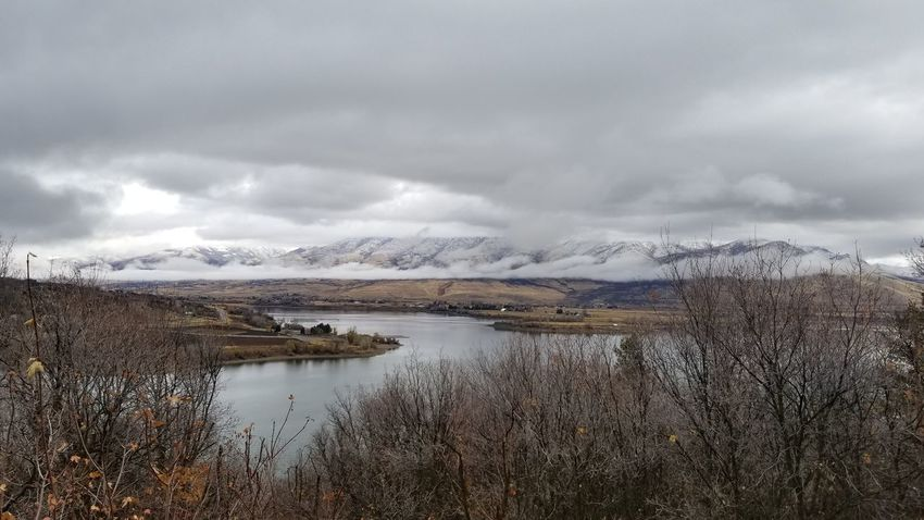 Landscape Cloud - Sky Mountain Snow Reflection Beauty In Nature Outdoors Cold Temperature Water Mountain Range Rural Scene Snowcapped Mountain Day Pineview Dam Utah Snowing Mountain Snowcapped Mountains Lake Mypoint Of View