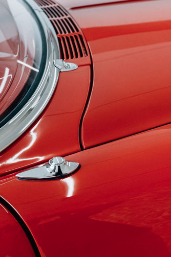 Close-up of shiny metal of car