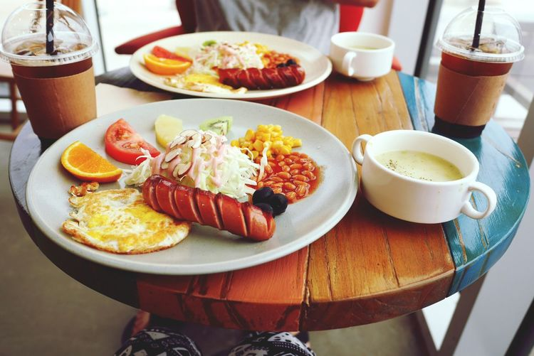 High Angle View Of Fresh Breakfast Served On Table