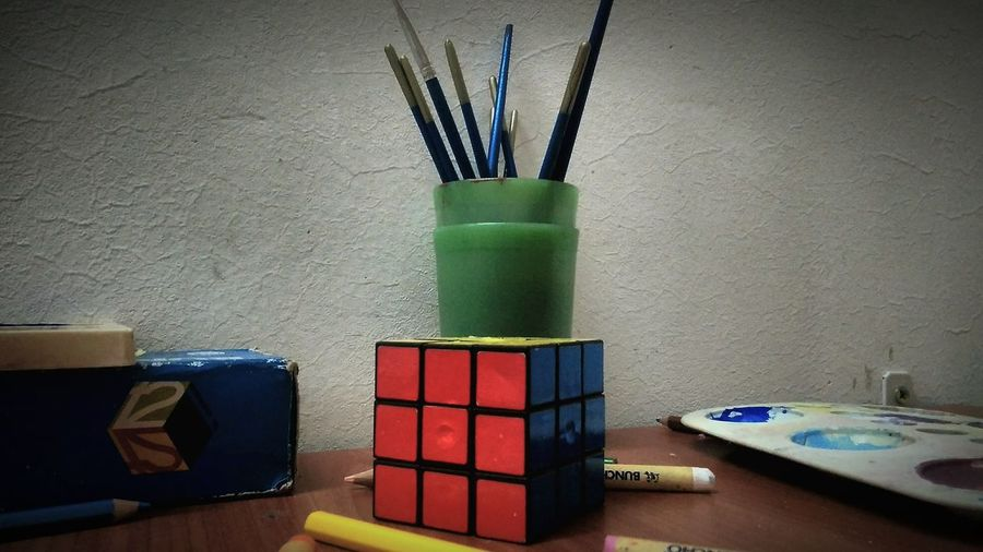 Indoors  Desk Organizer No People Colored Pencil Day Rubic Cube
