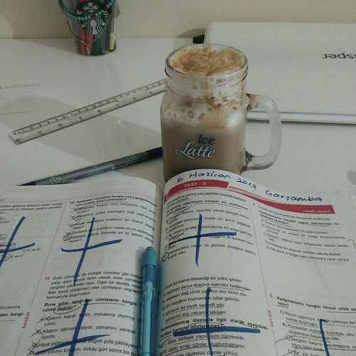 Studying Help WantToSleep Exam Coffee Breaktime Ihateschool LoveYourself Lovemyself Peace Wannacoffee YKS Tyt 12.sınıfoldum 2019tayfa Study Desk Book Test Study Time Studyblr 12thgrade Foruniversity Kahve Ders Goodnight Drink Drinking Glass Close-up Food And Drink Iced Coffee Ice Cube