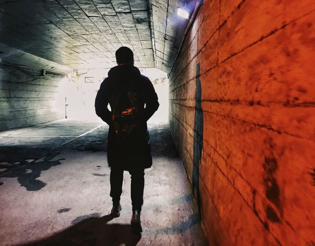 Light And Shadow Tunnel Vision Tunnel Real People One Person Shadow Architecture Lifestyles Leisure Activity Walking