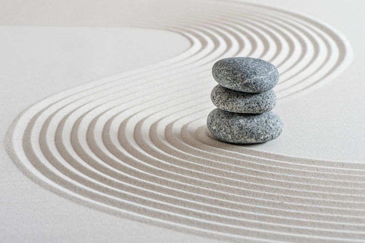 Stack of stones on table