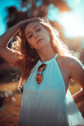 Portrait Of Beautiful Woman Standing Outdoors