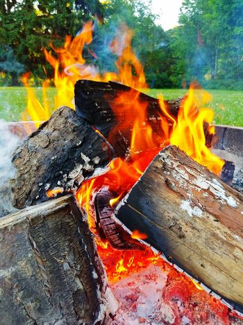 Camp fire with nice orange and red colors. Fire Campfire Logs Burning Burning Wood Fire Pit Coals Of Fire Coals Red Hot Orange Color Red Color Smoke Pavers