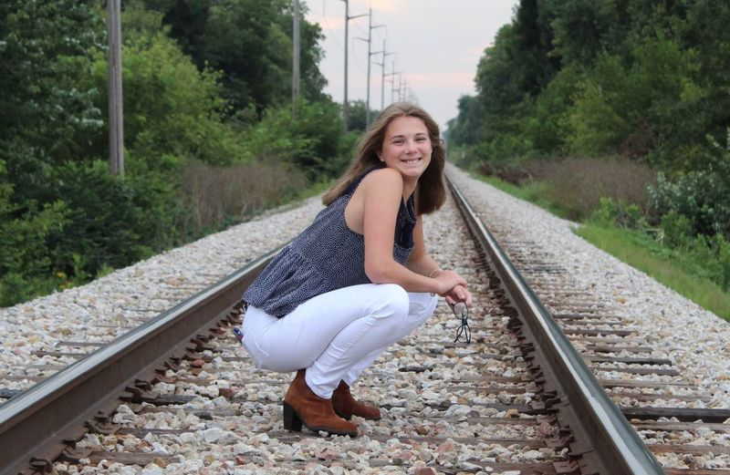 EyeEm Selects Senior Portrait Young Woman Railroad Tracks White Pants And Not Dirty! Wahooooo
