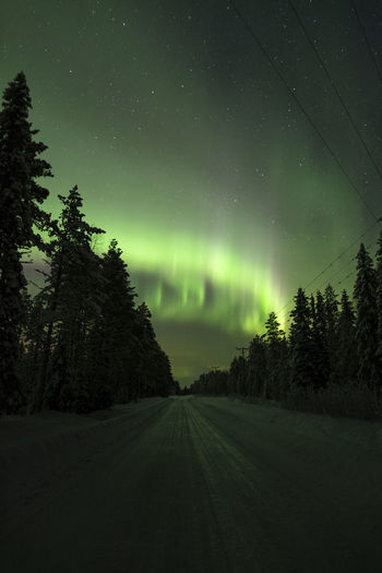 Arctic street light Sky Beauty In Nature Night Star - Space Astronomy Tranquility Tranquil Scene Road Nature No People Green Color Direction Idyllic The Way Forward Diminishing Perspective Outdoors Northern Lights Travel Landscape darkness and light Green Color Eye4photography  Photography Explore Sky_collection