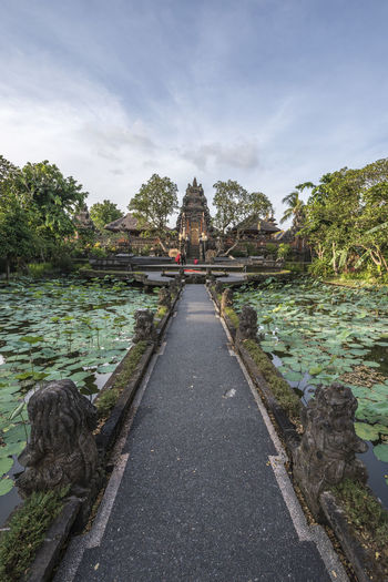 The saraswati temple in ubud, bali. named the water palace is an hindu temple with 2 lotus ponds.