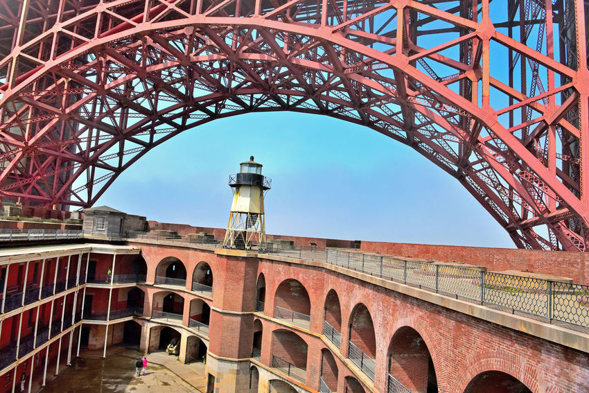 Fort Point Lighthouse 5 San Francisco CA🇺🇸 Fort Point Lighthouse Beneath South Anchorage Golden Gate Bridge Atop The Wall Fort Point Original Lighthouse Built 1853 2nd Built 1855 Current Lighthouse Built 1863 28ft. Tall Iron Skeletal Tower Circular Iron Staircase 5th Order Fresnel Lens Lighthouse _Collection Lighthouse Deactivated 1934 Bridge Completion Rooftop Penthouse Parapet Wall Barbette Tier Cannon Mounts Arches Barracks Casemates Parade Ground