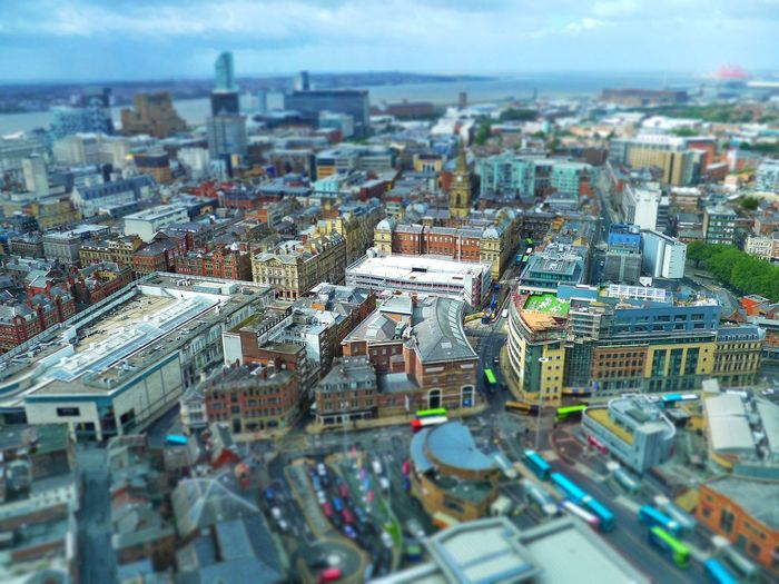 Above Liverpool, England Downtown Travel Photography