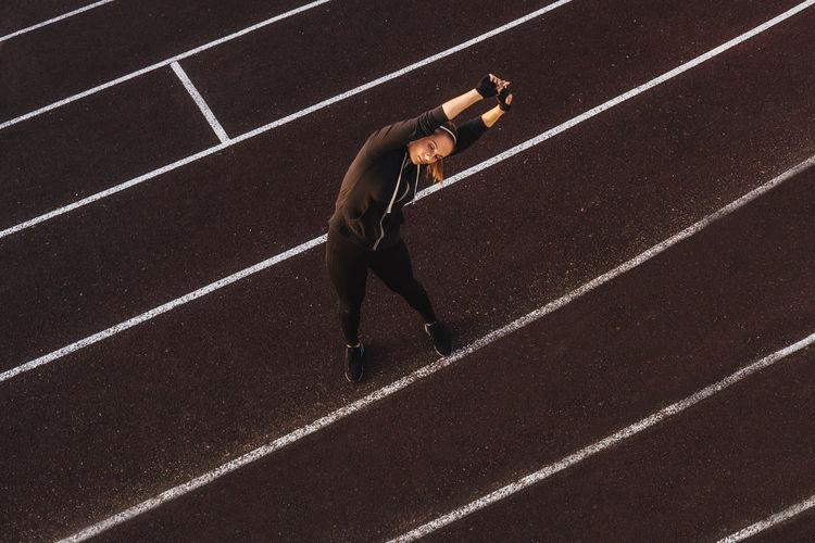 High angle view of man running