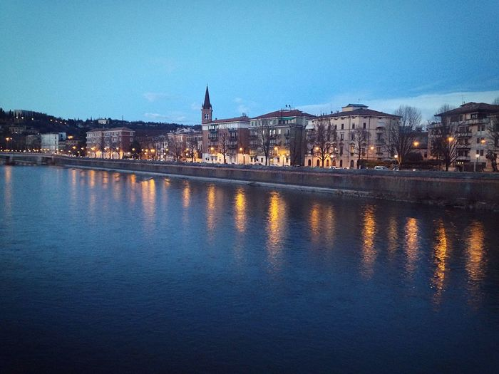 Verona Verona Italy Veneto Italy Water Adige River Adige Reflection Architecture Built Structure Building Exterior River City Sky 66/365 One Year Project 2017 March 7 Reflection Illuminated Waterfront Cityscape Travel Destinations Bridge - Man Made Structure Day No People Outdoors Connection Cultures