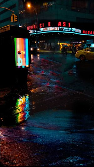 Marquee in the Rain Spotlight The Movie - Expose On Pedophiliac Priests Manuel Post Production Effects Reflections In The Rain Selective Masking & Coloring Wet