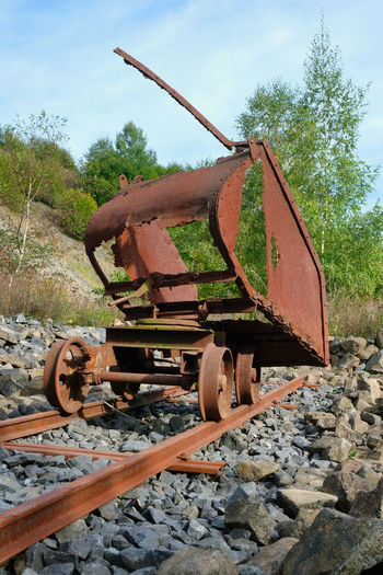 Abandoned Day Machinery Metal Minecart Mode Of Transportation Nature No People Old Outdoors Rail Transportation Railroad Track Rusty Transportation Wheel