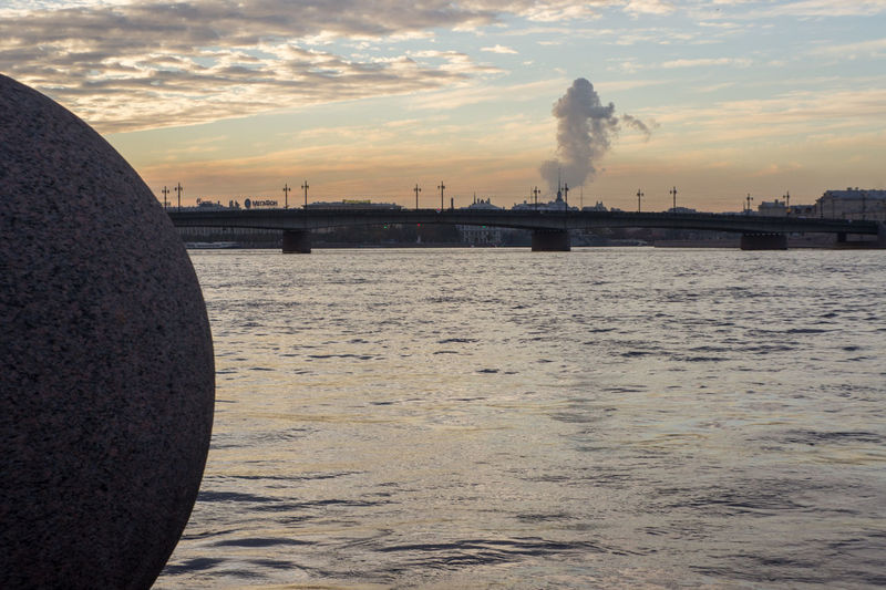 Architecture Built Structure Cloud - Sky Evening No People Outdoors Saint Saint Petersburg Sky Smoke Stack Sunset Water
