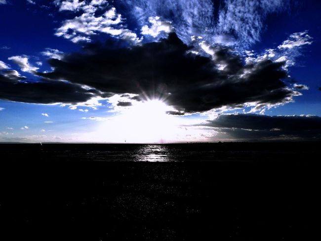 Beauty In Nature Blue Ciel Cloud - Sky Couché De Soleil Horizon Over Water Nature Outdoors Sea Sky Sunlight Sunset