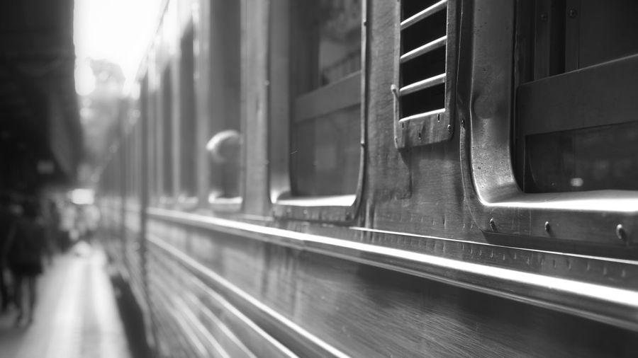 Train on glass window