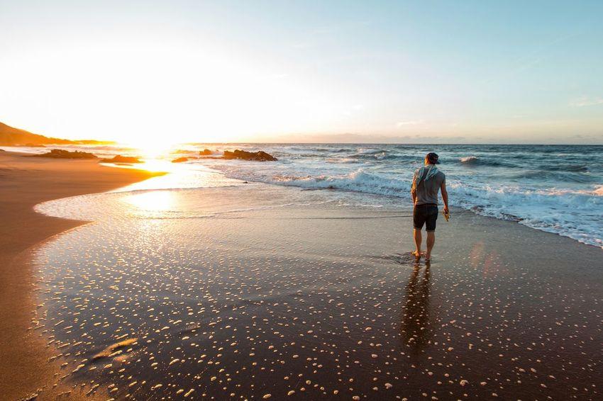 Alone on the Playa De Gary, Fuertaventura. Sea Sunset Beach Outdoors Water Nature One Person Beauty In Nature Horizon Over Water Vacations Adult Fuertaventura PlayaDeGarcy SPAIN Blacksand Blacksandbeach Holiday