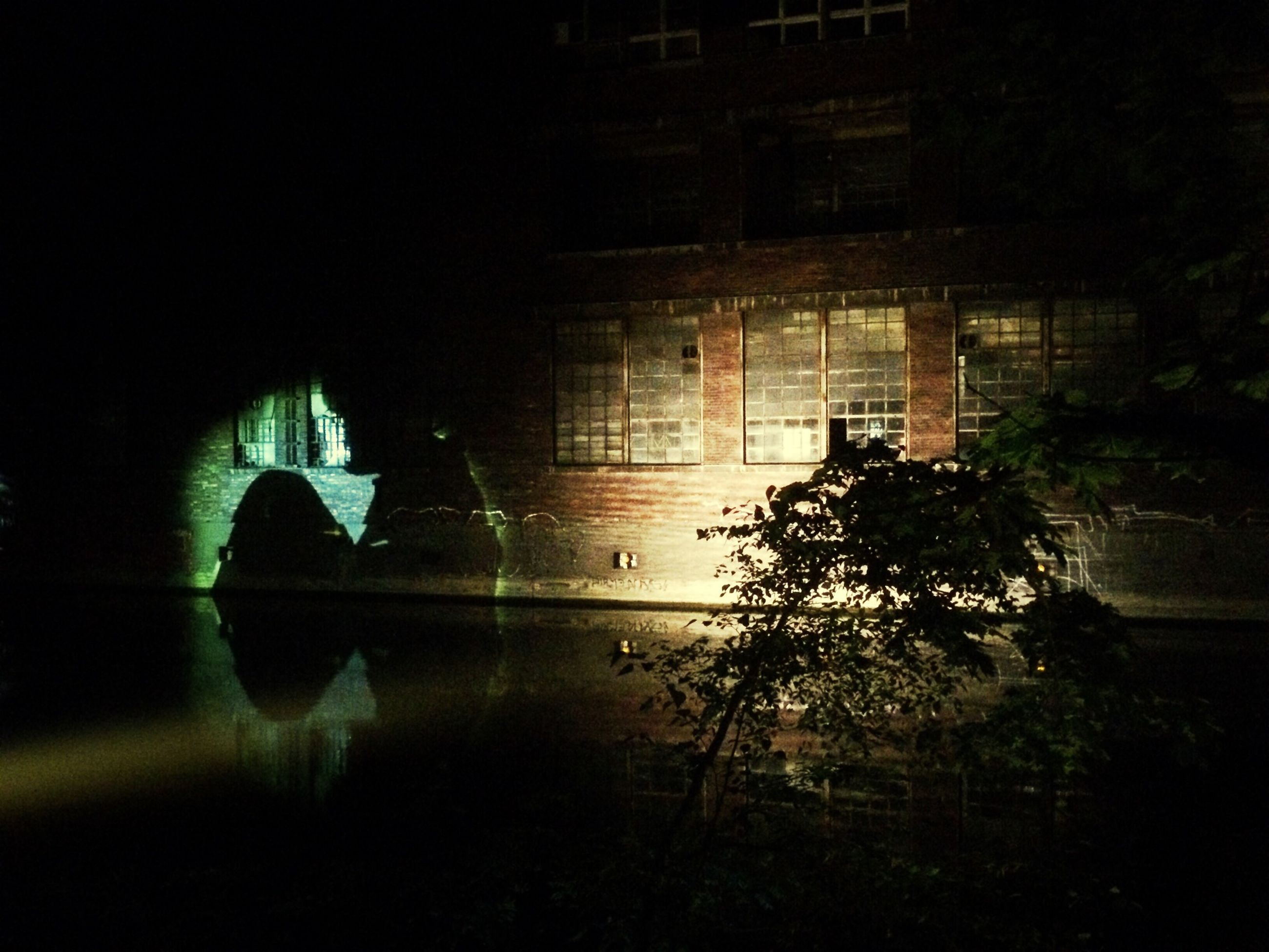 architecture, built structure, reflection, tree, night, building exterior, water, illuminated, dark, window, silhouette, building, indoors, arch, no people, standing water, river, pond, nature
