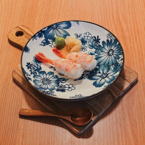High angle view of sushi in plate on table