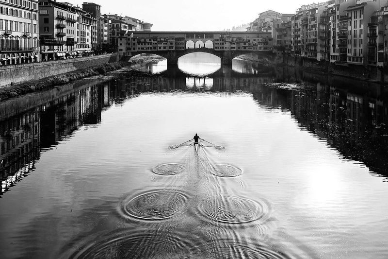 Reflection Architecture No People Built Structure Water Florence Italy Black And White Canoe Canoe And Water Bridge Over Water Bridge Photography Ponte Vecchio Bridge Ponte Vecchio, Florence Riverview Canoeing Bridge - Man Made Structure Symmetry Outdoors Day Flood Sky Postcode Postcards