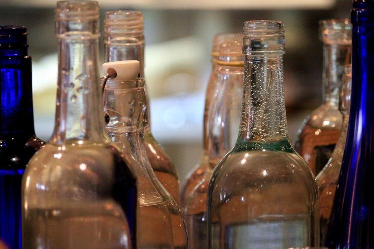 Close-up of wine bottles in shop