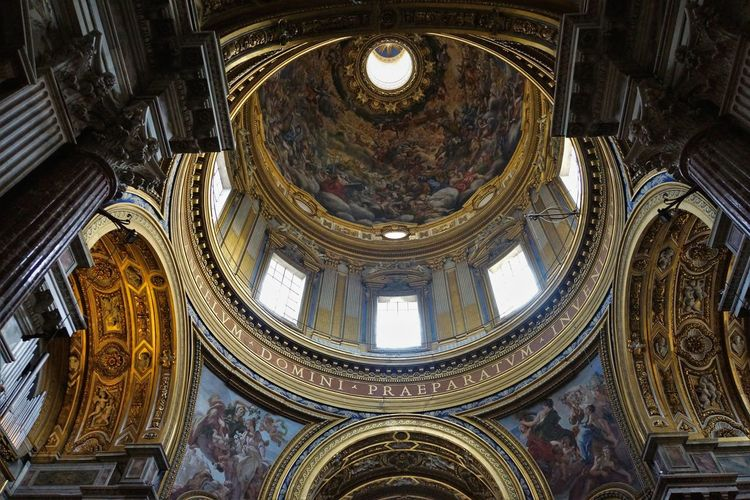 Old Town Architecture Built Structure Ceiling Cupola Day Dome Fresco History Indoors  Low Angle View No People Ornate Sant' Agnese In Agone Travel Destinations