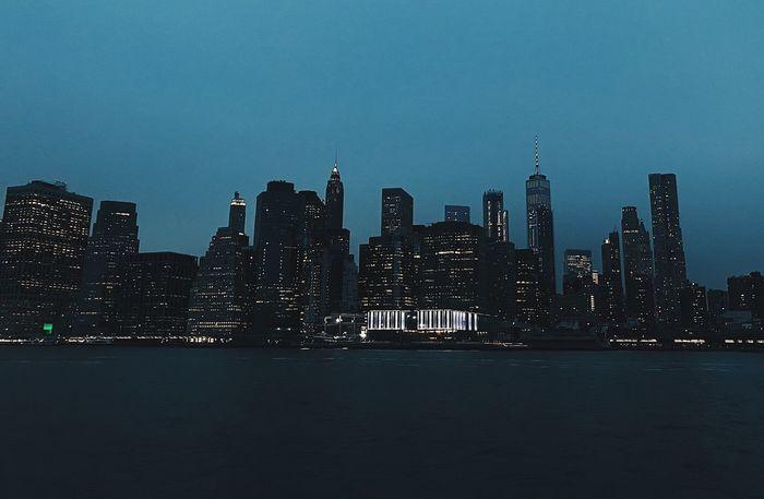 NY Hudson River Brooklyn Bridge / New York New York City Skyline New York City New York NYC Skyline NYC Photography NYC Street Photography NYC Skyscraper Night Architecture Building Exterior City Urban Skyline No People Illuminated Modern Cityscape Sky Built Structure Outdoors