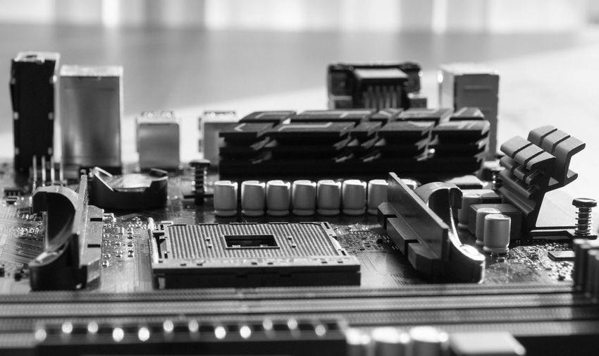 Close-up of mother board on table
