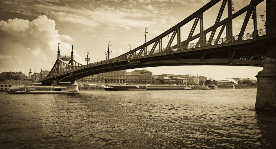Budapest, Liberty bridge Budapest Budapest, Hungary Budapest Bridges Liberty Bridge Danube In Budapest Danube Bridge Sepia_collection Sepia Photography Sepiatone Liberty City Bridge - Man Made Structure River Sky Architecture Built Structure Engineering