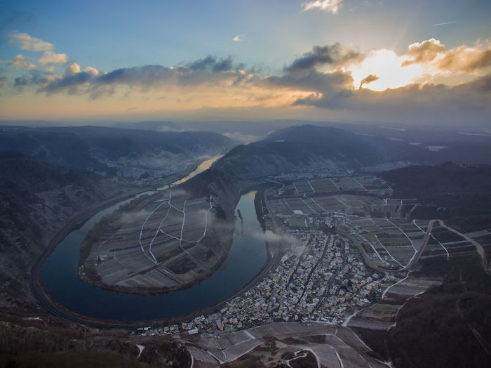 Moselschleife Aerial View Airplane Architecture Beauty In Nature Cloud - Sky Day Drohne EyeEmNewHere From Above  Landscape Landscape_Collection Loop Morning Mountain Mountain Range Nature Nature_collection No People Outdoors River Scenics Sky Sun Light Sunset Tranquility The Great Outdoors - 2017 EyeEm Awards