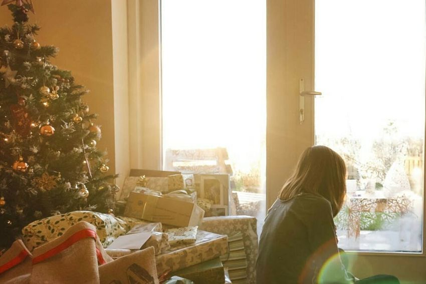 One Woman Only Only Women Sunrise Christmas Presents Under Tree French Doors Morning Light Morning Christmas Morning Sister Love Domestic Life Living Room Sunlight Sitting One Person Scottish Highlands Scotland Home Christmas Day Christmas Around The World Sitting Room Highland Xmas