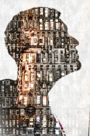 Multiple Exposure Image Of Building And Man