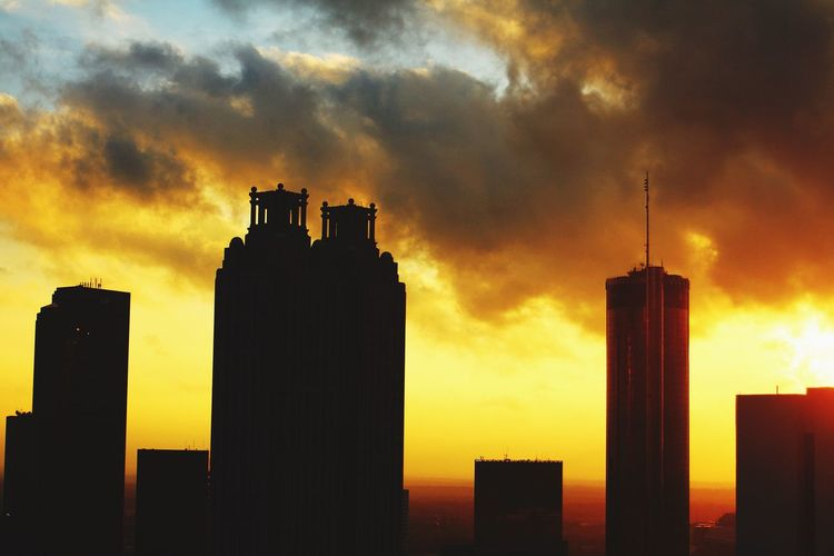 Towers and columns Sunset Architecture Sky Silhouette Cloud - Sky Building Exterior Built Structure Low Angle View No People City Outdoors Nature Day Scenics Aerialview Travel Destinations Atlanta, Georgia Atlanta Georgia EyeEmNewHere Georgia On My Mind Urban Skyline Atlanta Office Building Exterior Atlanta Ga ATL The City Light