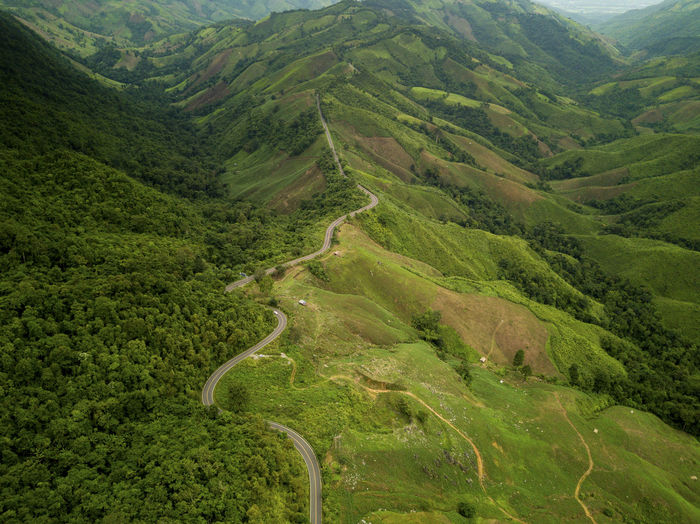 Full frame shot of green mountains