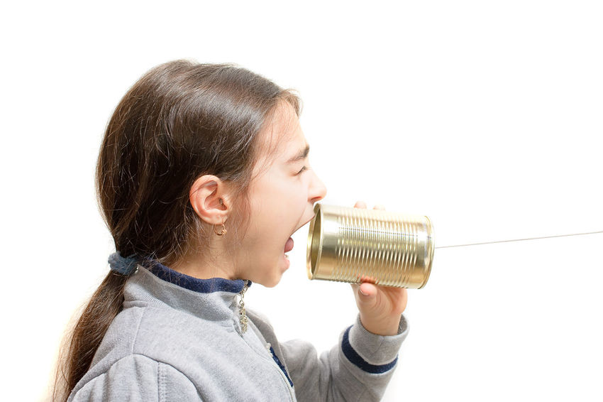 girl screaming in the phone built with the jar Child Communication Concept Girl Jar Phone Play Playing Portrait Scream Screaming Shout Shouting Speak Talking Telephone Young