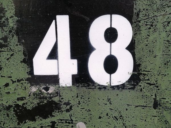 Number Communication Outdoors Road No People 48 Peeling Paint Exposed To The Elements Outdoors Stencilled Western Script Day Text Part Of