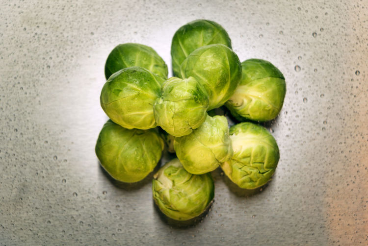 Close-up of brussels sprout on marble