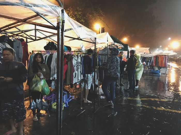Outdoor Shopping Complex Outdoor Shopping While Raining Night Market In Philippines