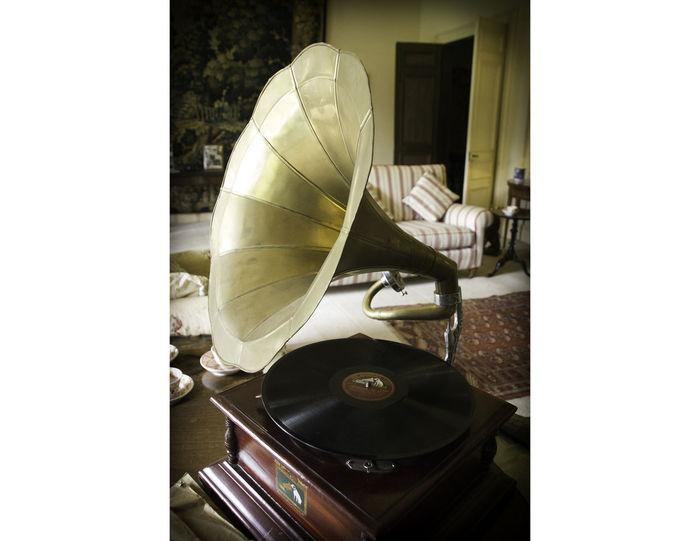 Old Fashioned Georgian Gramaphone Hmv Indoors  No People Record