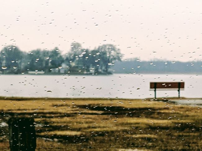 Lakeshore Lake Lake View Bench Bench Seat Peaceful Calm Water Calm Lonely Water Backgrounds Drop Window Wet Weather RainDrop Rain Rainy Season Windshield Car Point Of View Park Bench 2018 In One Photograph It's About The Journey