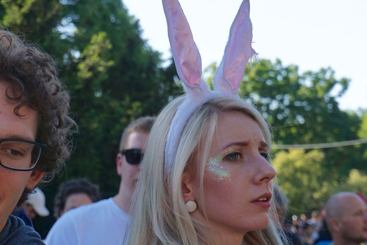 Bunny  Bunny Ears  Carnival Carnival Spirit Close-up Day Headshot Human Face Karneval Karneval Der Kulturen Lifestyles Outdoors Party Person Pink Portrait