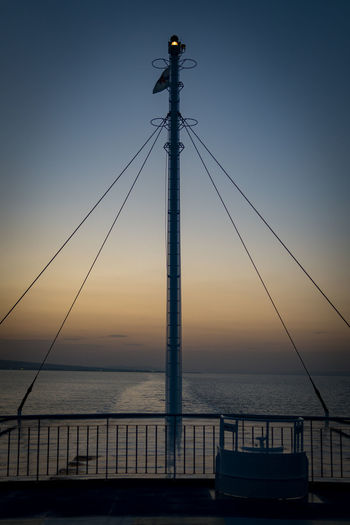 Japan Beauty In Nature Blue Cable Clear Sky Connection Day Dusk Horizon Over Water Nature No People Outdoors Sea Sky Sunset Water